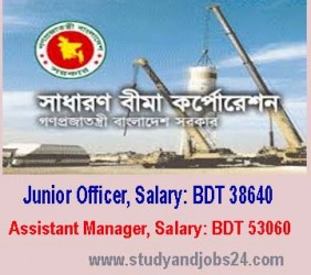 Job Vacancies at Sadharan Bima Corporation as Junior Officer, Salary BDT 38640