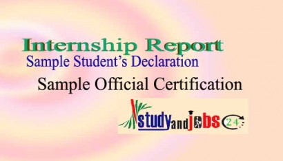 Internship Report: Sample Student's Declaration and Official Certification Page